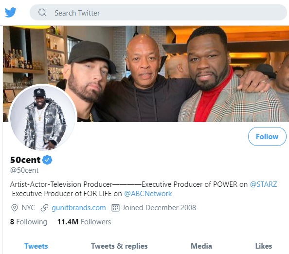 Screenshot (318) 50 cent twitter account